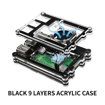 Official Raspberry Pi 3B+ ( plus ) Case 9 Layers Acrylic Case with Cooling fan