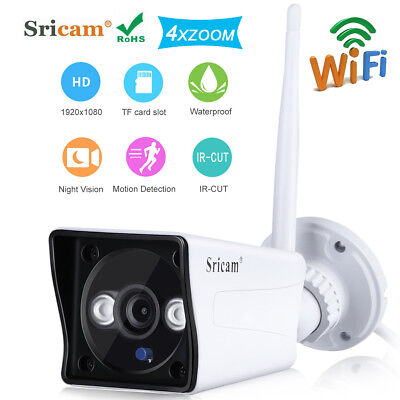 1080P Wireless ONVIF H.264 Wifi Bullet IP Camera Waterproof CCTV Home Security