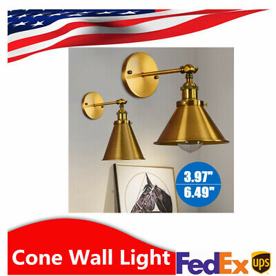 Industrial Vintage Style Brass Wall Light Cone Sconce Lamp Shade Fixture US SALE