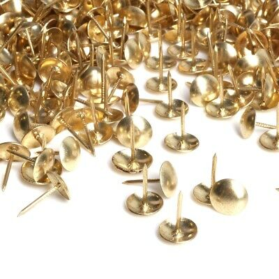 100x DECORATIVE UPHOLSTERY NAILS 10mm Domed Head Brass Fabric Tacks/Studs/Pins