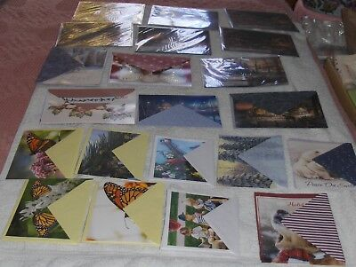 Mixed Greeting Card Lot 21 Cards & Envelopes Animals Nature Holiday Scenes