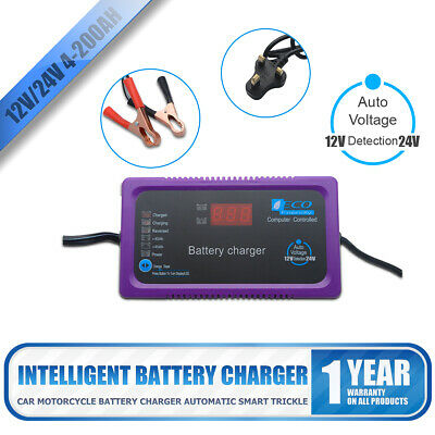 4-200AH Heavy Duty Steel 2/6Amp 12v/24v Car Van Tractor Battery Charger Smart UK