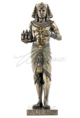Egyptian Pharaoh Holding Statue of Three gods.Cold cast bronze great details.