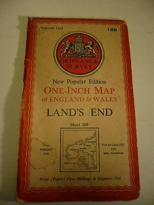ORDNANCE SURVEY ONE INCH MAP LAND'S END(inc SCILLY ISLES) NATIONAL GRID189 6th