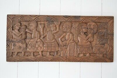 Antique African Tribal Art Hand Carved Hardwood Panel,African Wood Carving Decor