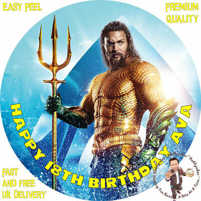 "JASON MOMOA AQUAMAN 8"" Premium Icing Sheet Customised Cake Topper"
