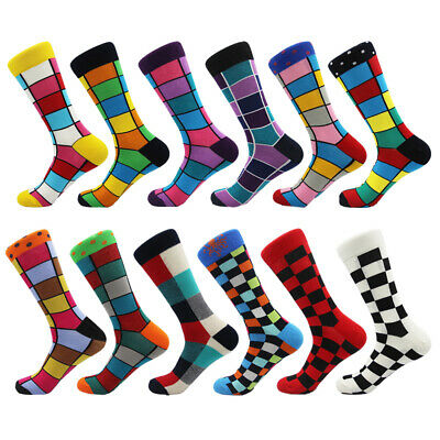 New Colorful Funny Mens Socks Colorful Grid Style Cotton Fashion Business Socks