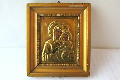 Antique Russian icon with gilded brass oklad (Riza) Virgin and Child