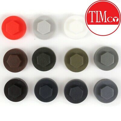 Choose AMOUNT & COLOUR 16mm HEXAGON COVER CAPS Roofing Screw Dome Weatherproof