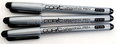 "3-PACK Copic Markers F02 Black Ink 6"" Drawing  Sketch Pen .2mm Line Width"