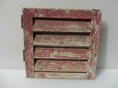 "Vintage French Wooden Window Shutter Wood Old Salvage 14""x14.5"""