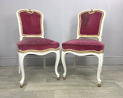 Pair Of Antique French Louis Dining Chairs - Restoration Project AP19