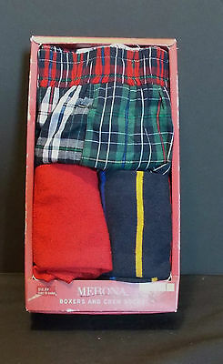 Merona Boxers & Crew Socks  Mens Size Small 3 Piece Set Plaid NIB