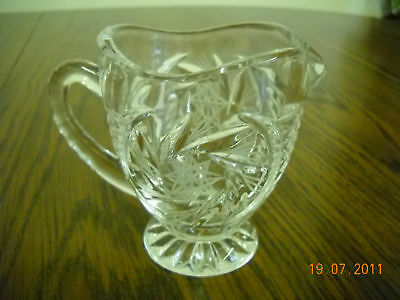 Vintage Cream Pitcher Footed Clear Glass w/Etched Flower Design