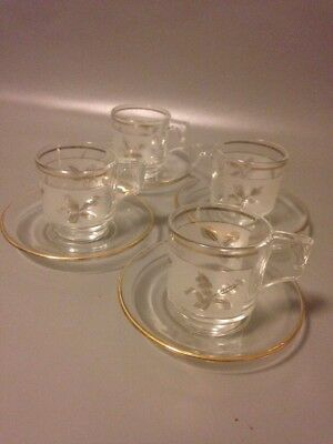 4x  Italian Pressed Glass Espresso Demitasse Cups And Saucers Gold Mid Century