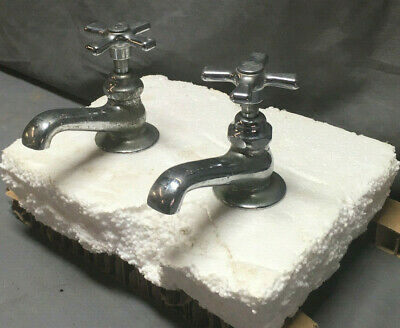 Pair Chrome Standard Separate Hot Cold Cross Handle Faucets Vintage 95-19L