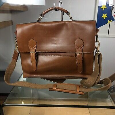 "UNICORN Real Leather 13.9/"" Laptop Netbook Brown #2M A4 Notepad Messenger Bag"