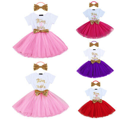 It Is My 1st 2nd Birthday Baby Girls Tutu Dress Cake Smash Party Outfit Clothes