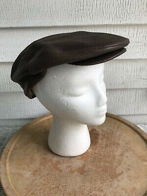 f6eb9d93 Orvis Leather Driving Golf Cabbie Newsboy Deerskin Leather Cap Hat S/m