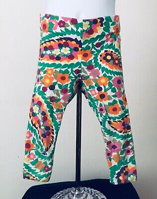 34350412071cd MINI BODEN Sz 6-7 yrs Orange Green Purple Flowers Leggings Cropped Stretch