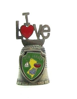 I Love New Jersey Pewter Thimble I Love With Red Heart Topper