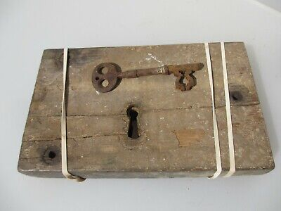 Antique Oak lock Iron Key Victorian Church Architectural Wood Old CRACKED CASE