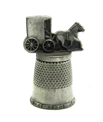 Ammish Fort Pewter Thimble Horse And Buggy Topper