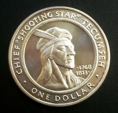 CHIEF 'Shooting Star' TECUMSEH Shawnee Tribe One Ounce .999 SILVER Medal/Coin