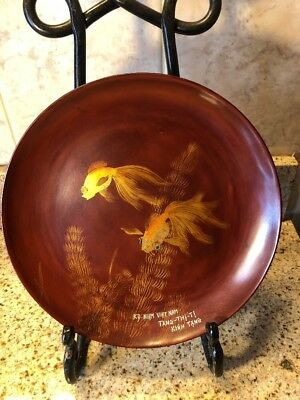 "VINTAGE VIETNAMESE RED LACQUER COMMEMORATION PLATE "" 9 3/4"" Diameter"