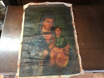 Vintage Authentic Cuzco Oil Painting Madonna & Child Peruvian Must See No Res