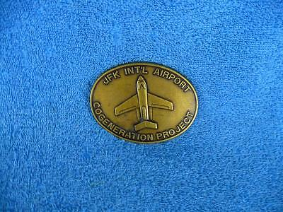 Vintage JFK International Airport Cogeneration Project Solid Brass Belt Buckle