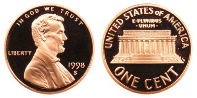 1998 S GEM BU PROOF Lincoln Memorial BRILLIANT UNCIRCULATED PENNY US COIN PF