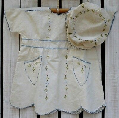 Antique Vintage Baby Childs Dress Hat & Blanket Set with Embroidery Toddler size