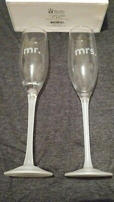 Mr & Mrs Champagne Flutes Wedding Glasses SET OF TWO Studio Collection