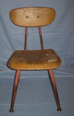 Vtg American Seating Co Classmate Bentwood Childs Chair Pink Metal/Wood!