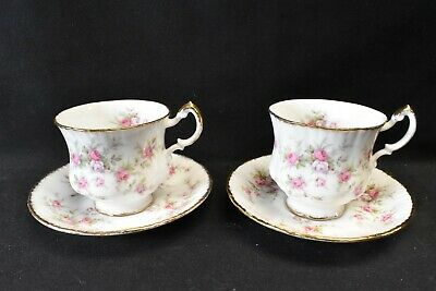 Paragon England Bone China Victoriana Rose Pair of Cups & Saucers