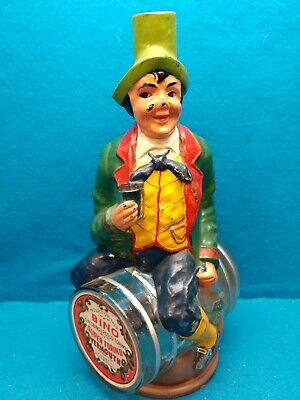 Vintage Figural Bino Vermouth Decanter - Man Sitting on Barrel- Made in Italy