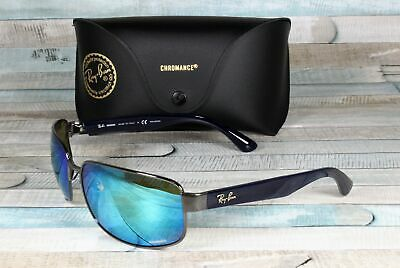 21d0bcae55 RayBan RB3566CH-004 A1 GUNMETAL green mir blue Polarized 65 mm Men s  Sunglasses