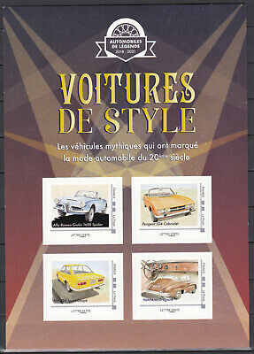 FRANCE 2019 Collector Voitures de style Luxury cars adhesive 3/3 MNH **
