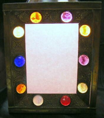 Antique/Vintage Copper Multi-Colored Colored Glass Inserts Light Cover