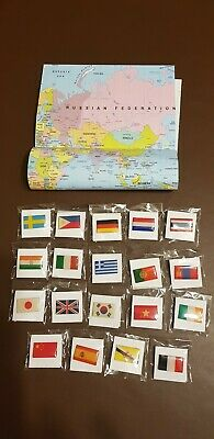 Map Of The World Poster And 19 Flag Pin Badges in individual sealed bags