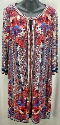 Beige by eci Dress Large 14 Blue Red Floral Tunic Scoop 3/4 Sleeve Knee 2630