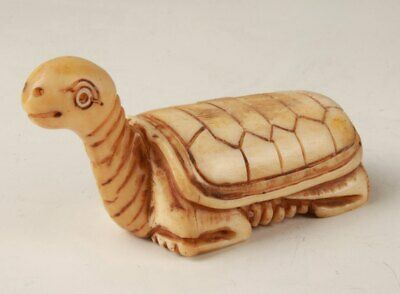 Precious Chinese Cattle Bone Statue Hand-Carved Turtle Mascot Collection Gift
