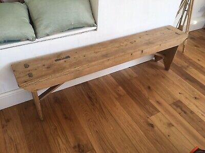 Vintage School Gym Bench Old Rustic Pine Reclaimed Hall Seat 1960s Farmhouse