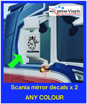 Scania mirror casing decals x 2. griffin truck graphics stickers ANY COLOUR!!!!