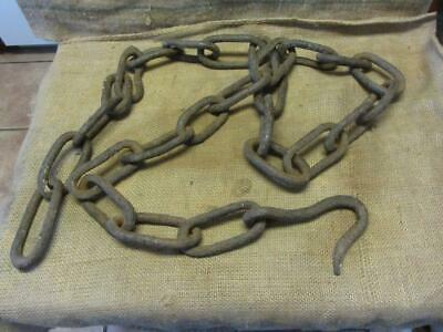 "Vintage Hand Forged Iron Ship or Logging Chain 114"" > Antique Anchor Boat 9973"