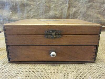 Vintage Wooden Desk w Drawer Box > Old Antique Boxes Wooden Portable Office 9970