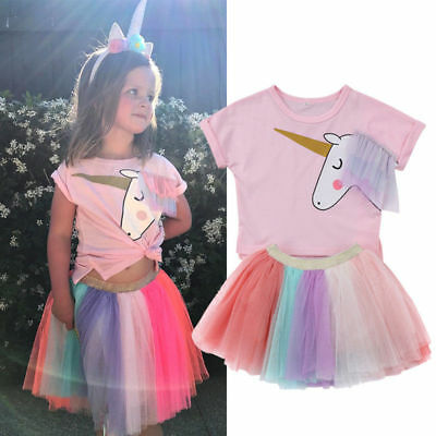 Kids Girls Unicorn T-shirt Top Tulle Tutu Skirt 2Pcs Outfits Clothes Party Dress