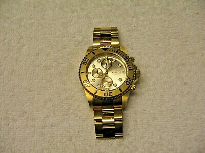 Nice Men's Invicta Pro Diver 18k GOLD Plated Chronograph Champagne Dial Watch