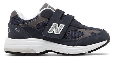 New Balance Kid's 993v1 Hook and Loop Little Kids Unisex Shoes Navy with White